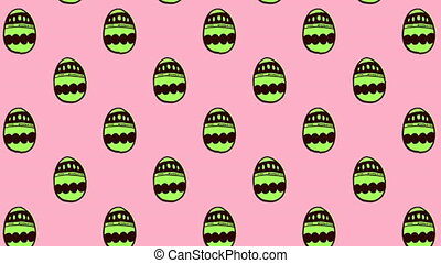 Animation of patterned Easter eggs moving in rows on pink ...