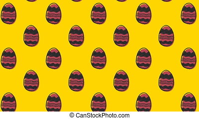 Animation of patterned Easter eggs moving in rows on yellow ...