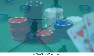 Animation of people silhouettes connecting over casino chips...