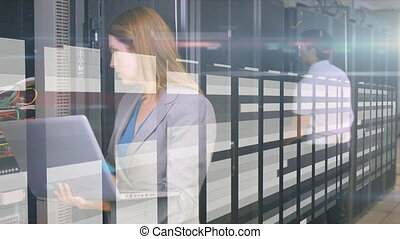 Animation of people working and looking computer processors