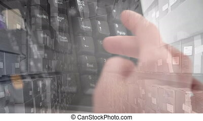 Animation of person using numeric keys on computer keyboard with warehouse in background. global shipping and technology concept digitally generated video.