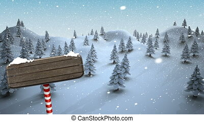 Animation of pine trees covered in snow - Digitally ...
