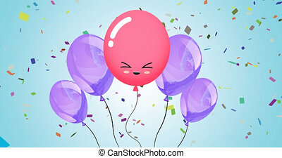 Animation of pink and purple balloons with confetti on blue background