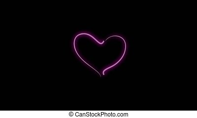 Animation of pink heart beating with light blinking, Design elements for Valentine's day
