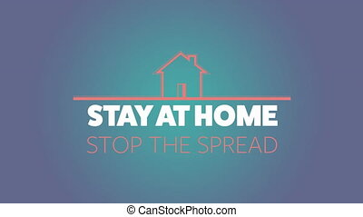 Animation of pink house with social distancing message on ...