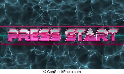 Animation of pink, neon words Press Start over blue, liquid ...