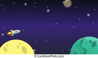 Animation of planet on space background collection