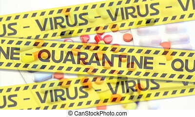 Animation of police tapes with texts Virus Quarantine over ...