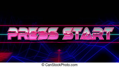 Animation of press start text in metallic pink letters over blue neon glowing mesh