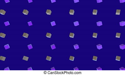 Animation of purple and yellow squares and purple background