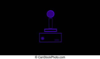 Animation of a purple outline of a glowing video game controller buffer with play buttons pulsating and throbbing on blue background. Digital technology and entertainment concept.