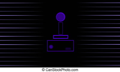 Animation of a purple outline of a video game controller buffer with play buttons pulsating and throbbing with purple stripes on black background. Digital technology and entertainment concept.