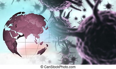 Animation of purple corona virus with world globe
