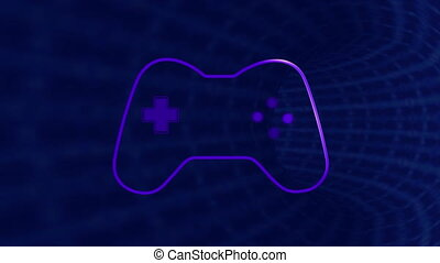 Animation of purple video game logo