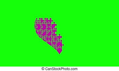 Animation of puzzle jigsaw heart. Appearing pieces of the...