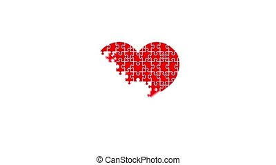Animation of puzzle jigsaw heart. Disappearing pieces of the...