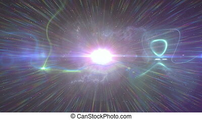 Animation of rays of light and spot of light moving in ...