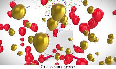 Animation of red and gold balloons over gift box opening, releasing colourful confetti