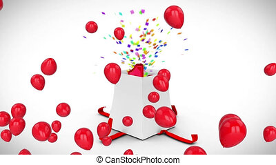 Animation of red balloons over white gift box opening releasing colourful confetti and number 18