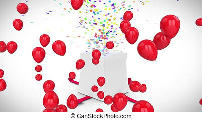 Animation of red balloons over white gift box opening releasing colourful confetti