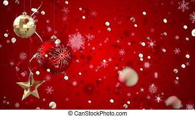 Animation of red christmas baubles, snow falling on red background