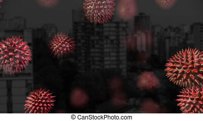 Animation of red corona virus with city in background