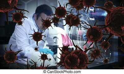 Animation of red corona virus with scientist in background