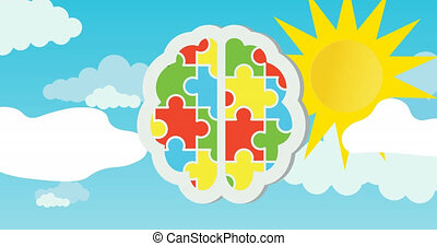 Animation of red, green, blue and yellow puzzle pieces forming human brain with sun on blue sky
