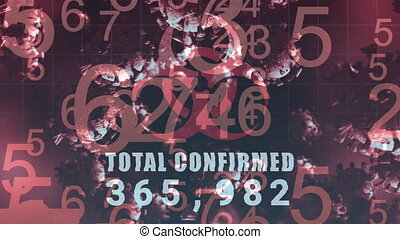 Animation of red hazard sign with Total Confirmed number rising over macro Covid-19 cells floatin. Coronavirus Covid 19 social distancing self isolation quarantine lockdown concept digital composition