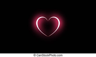 Animation of red heart beating with light blinking, Design elements for Valentine's day.