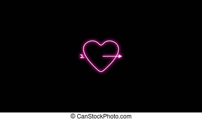 Animation of red heart pierced by an arrow, Design elements for Valentine's day.