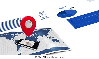 Animation of red location pin, smartphone and data ...