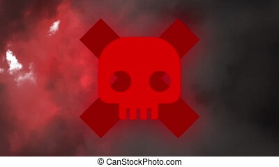 Animation of red skull head behind a cross on blackground
