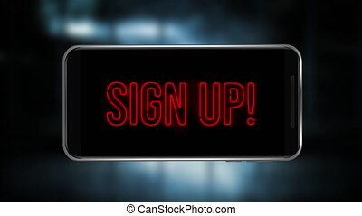 Animation of red words Sign Up pulsating on screen of a smartphone on black background