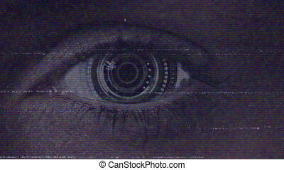 Animation of close up of robotic eye with white and blue horizontal lines flickering and sizzling with noise particles in the foreground. Information breakdown and data processing concept digitally generated image.