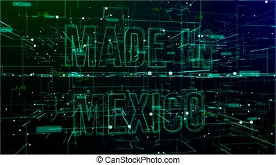 Animation of rotating digital space with 'Made in Mexico' text