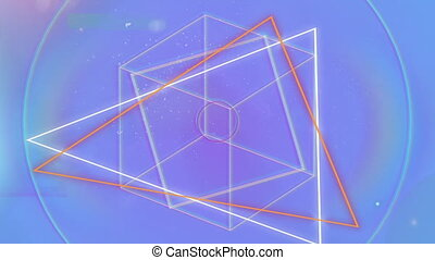 Animation of rotating geometric shapes with moving glowing ...