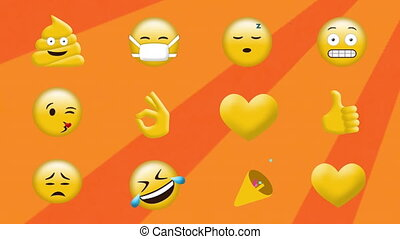 Animation of rows of multiple emoji icons on rotating orange...