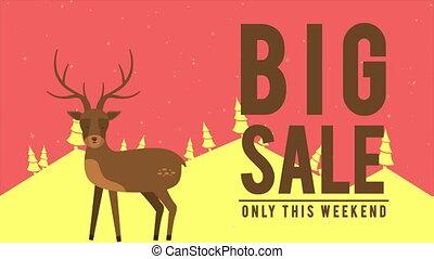 Animation of rusa on the hill. Christmas big sale