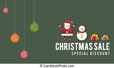 Animation of Santa Clause and snow poeple collection