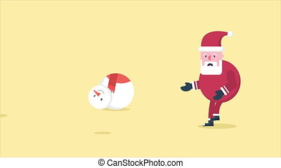 Animation of Santa Clause and snowman walk. Chirstmas...