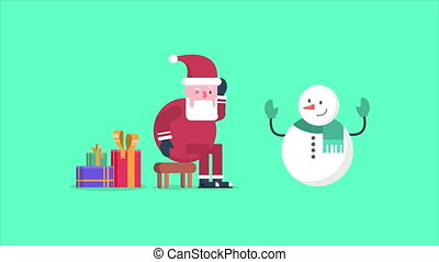 Animation of Santa Clause and snowman walk with gift....