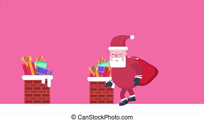 Animation of Santa Clause walk with gift. Chirstmas...