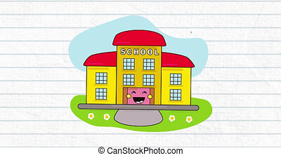 Animation of school building icon over white background. education, development and learning concept digitally generated video.