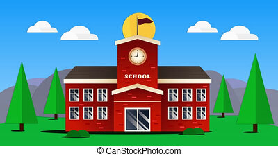 Animation of school building with sun and landscape on blue ...