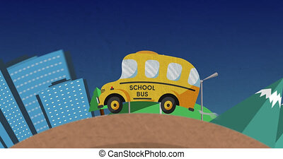 Animation of school bus driving in cityscape - Animation of ...