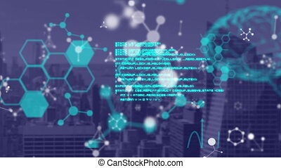 Animation of scientific data processing, human brain and molecules over cityscape