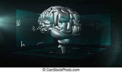 Animation of scientist equations over 3D brain during coronavirus covid19 pandemic
