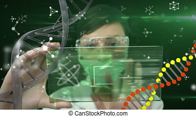 Animation of scientist wearing protective face mask , DNA ...