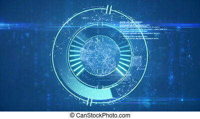Animation of scope scanning and data processing over blue background. global networking technology concept digitally generated image.